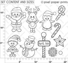 Santa and Friends Digital stamps set Christmas clipart
