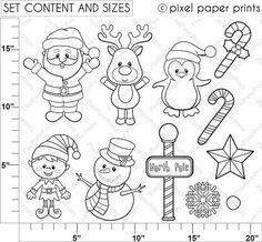 Santa Y Sus Amigos Set De Clip Art Y Papeles Digitales