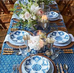 21 Ideas for wedding table white blue place settings