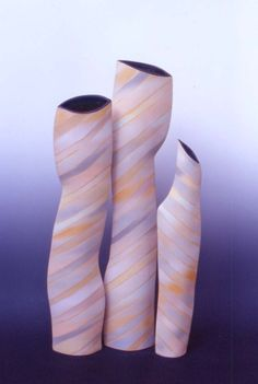 GICB2001 The 1st international competition / <Juror's Choice_Ceramics for Use> / Werner B. NOWKA/ Germany / Vessels No.1, 2 & 3 / 2000 / White german stoneware, Black feldspar glaze inside, Airbrush work with stained slip outside, Slab building, 1280℃ /  7.5×15×72㎝, 7×14×63㎝, 4.5×11×54㎝