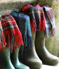 Scottish Staple - Hunter boots and Tartan scarves. Tartan is going to be big this season #fashion #tartan #trend