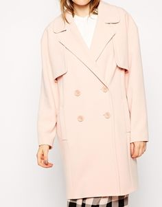 Blush pink cocoon coat