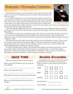 Columbus Day Fifth Grade History Comprehension Worksheets: Christopher Columbus Biography 4th Grade Social Studies, Social Studies Worksheets, Social Studies Activities, School Worksheets, Teaching Social Studies, Teaching History, Christopher Columbus Biography, Love Speech, Teaching 5th Grade
