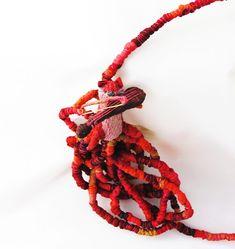 Life on a String – Francesca Cecchini (2014), necklace  (detail) // Materials: repurposed sari silk, copper thread, silk thread.