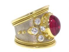 Elizabeth Gage Ruby and Diamond Ring in 18Kt Yellow Gold.