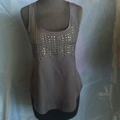 Lush XS grey medal sequence silky like tank top Lush, medal sequence, grey, silky like , racer T back, lose fit bottom, bronze medal sequence Lush Tops Tank Tops