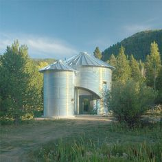 grain bin home with 2 bins