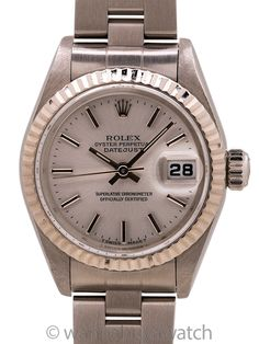 Lady Rolex Datejust ref 69174 circa 1999 Box & Papers - Lady Rolex Datejust ref 69174 serial # U9 circa 1999 complete with box and papers. Featuring 27mm stainless steel case with 18K WG fluted bezel, sapphire crystal, and original matte silver dial with applied silver indexes and hands. With Rolex heavy Oyster bracelet with deployment clasp. Powered by self winding caliber 2135 movement with sweep seconds and quick set date. Extremely minty preowned example complete with original inner and… Rolex Models, Modern Watches, Rolex Datejust, Bracelet Sizes, Stainless Steel Case, Link Bracelets, Oysters, Flute, Rolex Watches