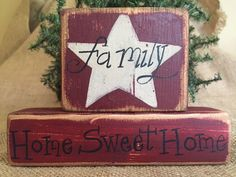 Primitive Country Star Family Home Sweet Home Shelf Sitter Wood Block Set Sign #PrimtiiveCountry