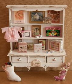 Vintage, Dollhouse Miniature 1:12 scale, Baby Girl Hutch, Filled with Whimsical items by LaBelleEpoqueBoudoir