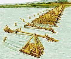 Costruzione del Ponte sul Reno per volere di Cesare, in primo piano il battipalo