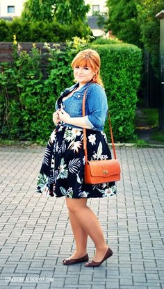Jean jackets and floral dresses..love it-TMC~~ Birthday Brunch Party Plus Size Outfit by Ela of ConQuore