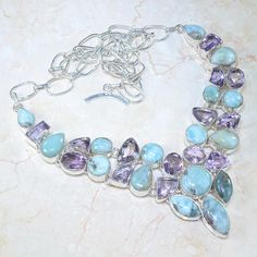 Huge Designer Larimar and Amethyst 925 Silver Necklace $125.00