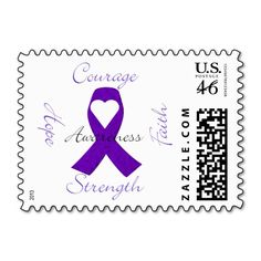 Purple Ribbon Awareness Stamp