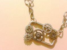Steampunk Gears Belt Buckle Necklace/ by SilverPennyArtisans