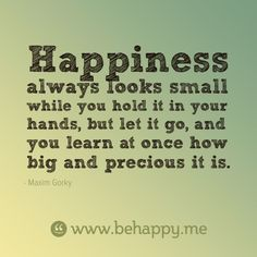 Happiness always looks small while you hold it in your hands, but let it go, and you learn at once how big and precious it is.