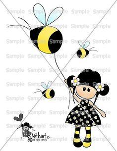 Spring bees Nina dolls 0403 clip art set images for por Withart
