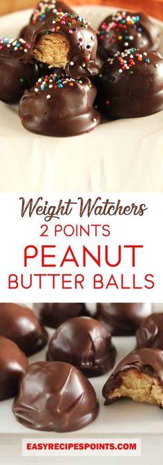 Peanut Butter Balls – ONLY 4 Ingredients! #weight_watchers #weight #watchers #dessert #cake #chocolate #peanut