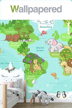Brighten up your wall with our fun Happy Animals World Map Wallpaper design. This cute wall mural is perfect for the nursery or child's bedroom. The lovely animal motifs will bring a smile to your face. World Map Wallpaper, Kids Wallpaper, Happy Animals, Designer Wallpaper, Wall Colors, Kids Bedroom, Wall Murals, North America, Nursery