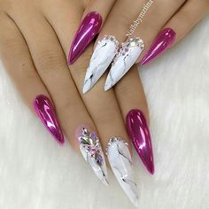 Marble and pink jeweled nails