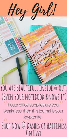 """There is no better place to keep your bullet journal or to-do list than in this spiral notebook that boldly declares """"I am beautiful.""""Promote positive thinking and self esteem while you clear your head."""