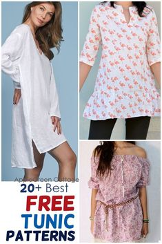 A huge collection of free tunic patterns to sew, for all styles and all sewing skills: beginner to advanced. Here you'll find a lot of womens tunic patterns, including tunic patterns with long or short sleeves, flutter sleeved tunics, swing tunic tops, sleeveless tunic dress patterns and tunic tops for all seasons. Check out all the free womens tunic patterns and choose your favorite. #tunicpatterns #freesewingpatterns #womenstunics #tunic Tunic Dress Patterns, Tunic Pattern, Sewing Patterns Free, Free Sewing, Baby Sewing, Traditional Quilt Patterns, Sleeveless Tunic, Simple Dresses, Refashion