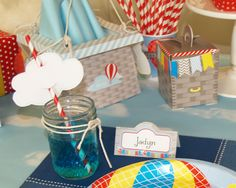 """This theme will be launching soon! Scheduled for 6/13 Cloud print-tables- easily add your guest names and """"presto"""" you have your drinks tagged or add a clever message for the event #hotairballoon #kidsparty #balloons"""