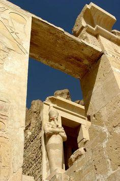 The Mortuary Temple of Queen Hatshepsut is located beneath the cliffs at the Djeser-Djeseru (Deir el Bahari).