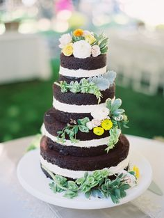 Unfrosted Chocolate Wedding Cake | photography by http://www.claryphoto.com