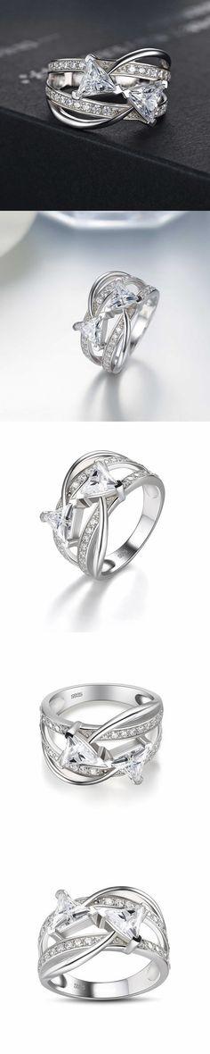 Lajerrio Jewelry Trillion Cut White Sapphire S925 Engagement Ring #gorgeousjewelryrings