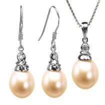 Crystal Top 8-9mm Drop Cultured Pearl Silver Pendant Necklace & Earrings Set, Peach