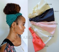 Satin Lined Narrow Headband, Solid Color Pineapple Bun Wrap, Women Head Wrap, Yoga Fitness Protective style head scarf – Choose Your Color – Hair style Twist Headband, Headband Wrap, Protective Styles, Pineapple Bun, Pineapple Hairstyle, Cabello Afro Natural, Faux Locs Styles, Curly Hair Styles, Natural Hair Styles