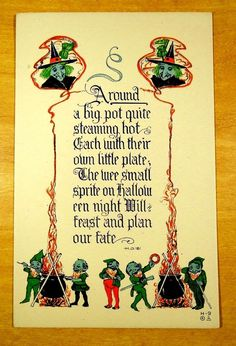 WITCHES wee small sprites plan our fate rare Nash HALLOWEEN H-9 Antique Postcard #Halloween