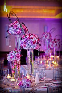 Modern Purple Centerpiece by Daniel Events