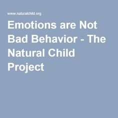 Emotions are Not Bad Behavior - The Natural Child Project