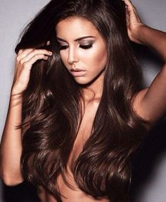 Dark brown hair color with light warm brown highlights