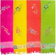 Hand-Painted Flower Sarong with Bands Near Border
