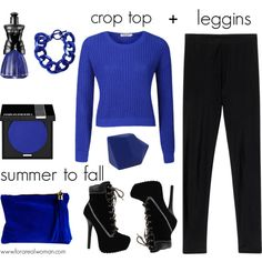 """Hot Fall Trends: crop top+leggins, black+cobalt"" by jasminerb on Polyvore"