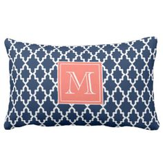 Navy Blue Moroccan Coral Monogram Throw Pillows