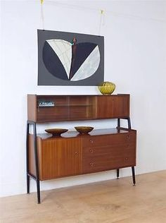 Mid Century Retro 60's Sapele Tall Sideboard with Formica Drinks Cabinet Bar