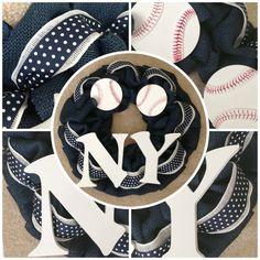 New York Yankees decor Burlap Wreath.