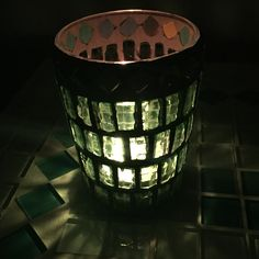 Luminária de vela em mosaico!
