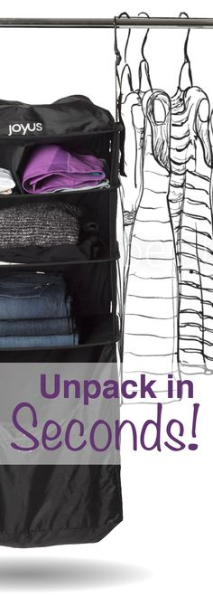 Unpack in 10 seconds FLAT! Luggage Shelves fit in your carry-on or med/large suitcase to keep them organized so all you have to do is hang them at the hotel.