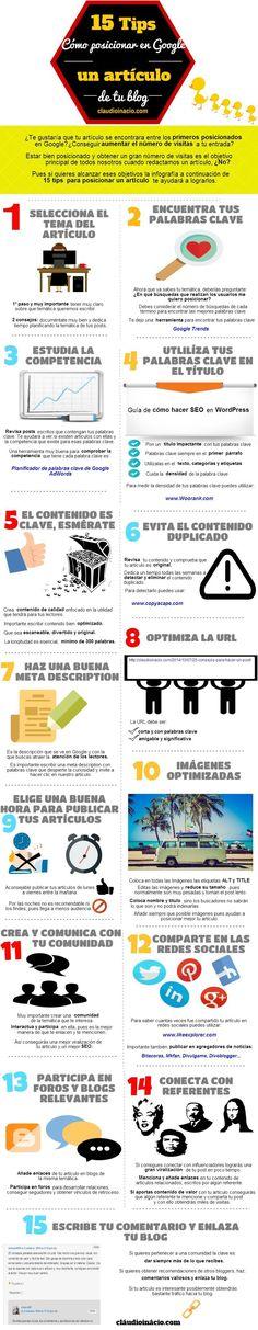 15 tips cómo posicionar en Google. Infografía en español. #CommunityManager