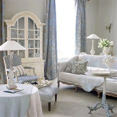 Romantic country living room cold colors grey blue white
