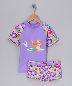 Another great find on #zulily! Little Mermaid Rashguard & Shorts - Toddler & Girls by Baby UV #zulilyfinds