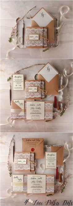 Rustic kraft paper and lace wedding invitations #rusticwedding #countrywedding #weddingideas