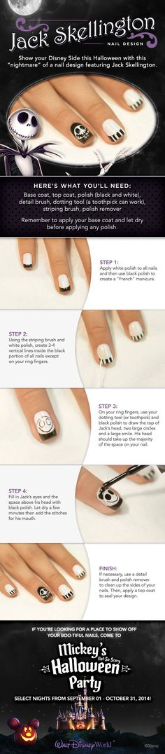 Get ready for Mickey's Not-So-Scary Halloween Party with these Jack Skellington DIY Nails! walt disney world