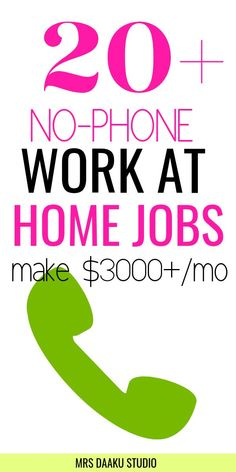 Work from home jobs - Over non phone work from home jobs that are hiring right now. If you are looking for different ways to work at home with flexibility, check out these online jobs and side hustles right now. Make money online jobs Ways To Earn Money, Earn Money From Home, Earn Money Online, Way To Make Money, Money Fast, Earning Money, Cash Money, Quick Money, Online Income
