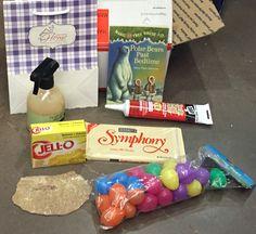 Work BOC - bag, book, caulk, chocolate, odor eliminating spray, Jell-O, fossil, and easter eggs